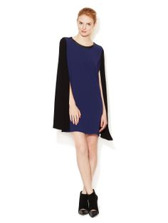 Maje Cape Dress with Leather Combo