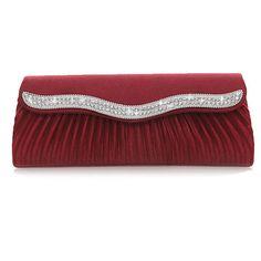 Red Party Wedding Bridal Charm Pleated Evening Clutch Bag HandBag Purse #SF1047 #Unbranded #EveningBag