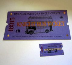 Mini Wizarding Knight Bus Ticket for American Girl Dolls. $2.50, via Etsy.
