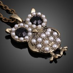 Fashion Vintage Women Cute Imitation Pearl Owl Pendant Long Necklace, unit price of $2.06 only - Yesfor.com