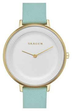 Skagen 'Gitte' Round Slim Leather Strap Watch, 38mm available at #Nordstrom