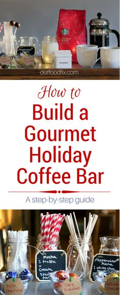 [ad] A step by step guide to create the ultimate gourmet holiday coffee bar. Impress all your guests with this fun and festive take on holiday drinks. #HolidayFlavorsAreHere #CollectiveBias | Holiday recipes | How to guides | Coffee bar | Coffee recipes | Coffee bar ideas | Coffee station | Holiday party ideas | Holiday party | Christmas party | Christmas party ideas | Christmas party food