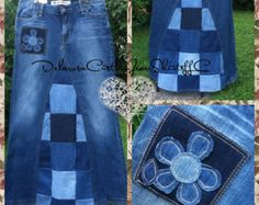 Jazzig J Patchwork Maxi Jeans Rock Custom von CustomJeanSkirts