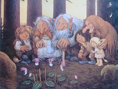 From the book TROLL, The original book of Norwegian Trolls by Jan Loof. Father Troll has had enough, he wraps himself up in a blanket, go. Illustrator, Creation Photo, Elves And Fairies, Winter Flowers, All Nature, Animation, Goblin, Watercolor Illustration, Fantasy Art