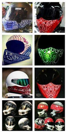Bandana Style Print Motorcycle Helmets via Motorcycle Helmet Design, Full Face Motorcycle Helmets, Futuristic Motorcycle, Motorcycle Style, Motorcycle Gear, Women Motorcycle, Simpson Helmets, Helmet Paint, Custom Helmets