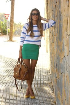 stripes and yellow heels