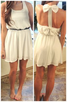 Bows Back Dress in White