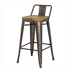 Utilitarian squared seat with back gives added comfort while the natural wood seat offers a hint of rustic charm. Available in bar stool and counter stool. Rustic Bar Stools, Tall Bar Stools, Farmhouse Stools, Industrial Bar Stools, Modern Stools, Kitchen Island Stools With Backs, Stools For Kitchen Island, Kitchen Reno, Metal End Tables