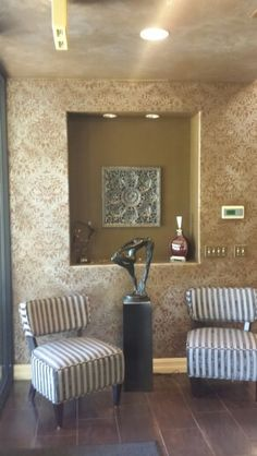Bronze over silver stenciled wall
