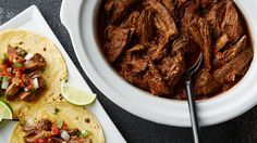 Shredded beef cooked in a slow cooker. So easy for a barbacoa recipe that is so good. Slow Cooker Recipes, Crockpot Recipes, Cooking Recipes, Slow Cooking, Carne Asada, Pizza Hut, Mexican Dishes, Mexican Food Recipes, Barbacoa Recipe
