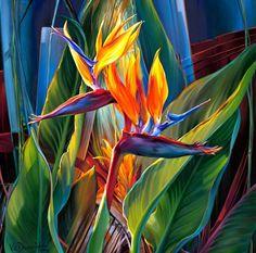 Vie Dunn-Harr - Tropical Hideaway - oil on canvas - Arte Floral, Exotic Flowers, Tropical Flowers, Botanical Art, Botanical Illustration, Watercolor Flowers, Watercolor Art, Polynesian Art, Birds Of Paradise Flower
