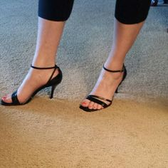 """PRICE DROPNEW ITEM NINE WEST SANDALS Black leather heels with ankle strap. Has 3 1/2""""  heel. Has some slight peeling on inside of shoe,  but you cant see when you wear them ..limited use..outside of shoe in excellent condition! Great to wear with your favorite black dress or that special occasion. Nine West Shoes Sandals"""
