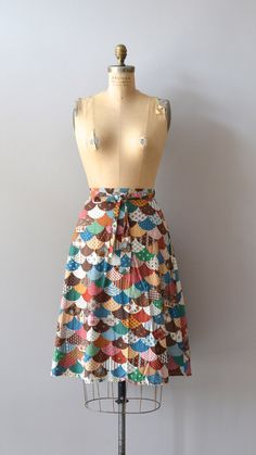 1970s wrap skirt / 70s cotton patchwork skirt / Goose Island skirt