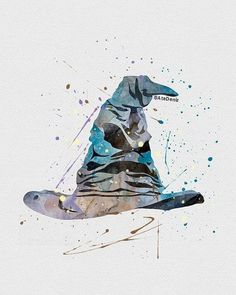 Harry Potter Sorting Hat Watercolor Art -So cool! I want a hat that looks like the Sorting Hat. Harry Potter Sombrero, Arte Do Harry Potter, Theme Harry Potter, Harry Potter Love, Harry Potter Universal, Harry Potter Fandom, Harry Potter World, Hogwarts Sorting Hat, Harry Potter Sorting Hat