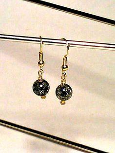 Gold & Black Beaded Earrings by DeerwoodCreekGifts