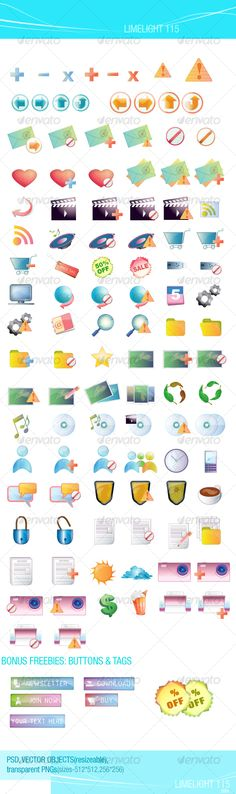 LIMELIGHT 115____ icons - Miscellaneous #Icons Download here: https://graphicriver.net/item/limelight-115____-icons/46371?ref=alena994