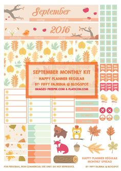 Be Free: HAPPY PLANNER: SEPTEMBER MONTHLY KIT