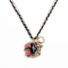 Free SHIP Betsey Johnson Black Glaze Horse Head Flowers Crystal Necklace N540 | eBay