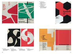 Spread from 100 Years of Swiss Graphic Design, featuring posters by Armin Hofmann,Carlo Vivarelli, Emil Ruder, Richard Paul Lohse, Josef Müller-Brockmann and Herbert W. Kapitzki, 1955—1961