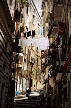 Perfect Street and stairs in the historical center of Naples - Italy by linobag