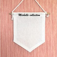 "Custom Name Pin Banner, Enamel Pin Display for Nursery Wall Decor Your name you want will be printed on the banner in the way iron on transfer. For example, as in the photo - ""Michelle Collection"", ""Disney Pins"", ""My Places"", ""My Collection"" or any other. 