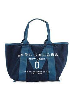 New Logo Denim Tote Bag, Blue
