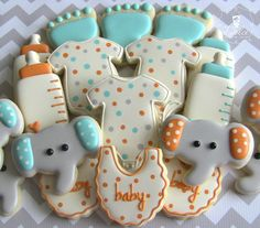Baby Shower Cookies~      One Dozen 12 Welcome Baby / Baby Shower Decorated,     by DolceDesserts, Grey Elephant, baby bottle, Onsies, bib, Blue, Orange