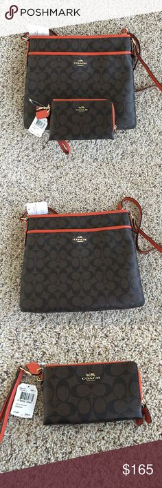 """Brown/Black Crossbody Bag + Wristlet Set Price is firm.  New with tags. Comes with white Coach Gift boxes for both items and care instructions.  Original Retail for Both is $320.   Dimensions; Crossbody bag: 12"""" (L) x 10.75"""" (H) x 1.75"""" (W) Wristlet : 6 1/4 (L) x 4 (H) Coach Bags Crossbody Bags"""