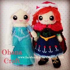 Crochet Frozen dolls and patterns ---- Queen Elsa and Princess Anna https://www.facebook.com/OhanaCraft