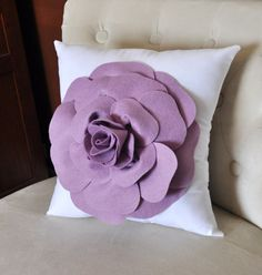 Lilac Rose on White Pillow -Flower Pillow-