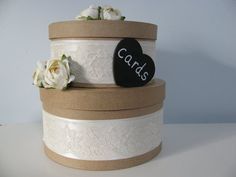 Rustic Wedding Card Box with Lace and Personalized Chalkboard Heart