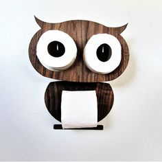Owl - A sticker on the wall made of valuable wood for storing two rolls and a toilet paper holder. Fastened without screws. This is a Mini Owl for normal roll (diameter 10 cm), paper width can be different The kit consists of: 1) Two details of precious wood. The head is simply worn on rolls and the body is glued to a double-sided mounting tape. 2) Two plastic roll holders with mounting tape for fastening  Delivery time to most countries is approximately 15-21 days.