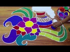 new year 2018 rangoli design happy new year muggulu rangoli designs for new year 2018 new year kolam - YouTube Rangoli Designs With Dots, Kolam Designs, Sankranthi Muggulu, Happy Pongal, Flower Rangoli, Colours, Festivals, Youtube, Flowers