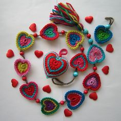 crochet heart garland