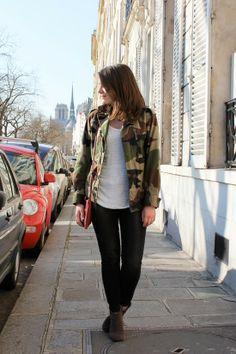 C B C M G - Vintage camo military jacket - Zara white tshirt and grey jeans - Mango red crossbody bag - Isabel Marant Dickers boots