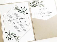 Showcase your wedding invitations and bundle your enclosures with ultra-convenient and chic pocketfold suites! These elegant wraps feature a personalized invitation panel mounted directly to the pocketfold and include a built-in angled pocket for your enclosure card, RSVP card