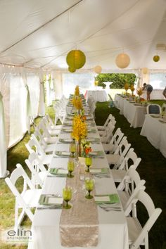 Cape Cod Weddings Beach Table Scape Yellow And Lime Green White