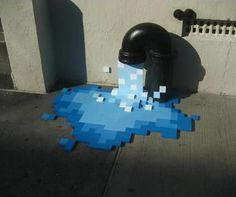 This awesome pixelated street art was spotted in NYC in the East Village.