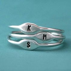 Tiny Sterling Silver Personalized Initial Stacking by esdesigns
