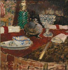 Édouard Vuillard, LA SAUCIÈRE ET LES RONDS DE SERVIETTE,  Oil on card, 8 3/8 by 7 7/8 in., 21.1 by 20.2 cm Painted circa 1896-97