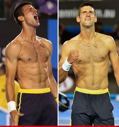 Novak Djokovic at the 2013 Aussie Open. TV rating would go up if he played shirtless.  Just sayin.
