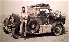 Brigadier Rupert Norton Harding-Newman with a Model A Ford. He was commissioned into the Royal Tank Regiment (RTR) in 1928 and joined 5 RTR. Two years later he was posted to 5 Armoured Car Company in Abbassia, Egypt. He used any excuse to get out into the desert to try out new vehicles - Riley 9s, Jowetts and Crossleys 30cwt - and would camp there for several days at a time. His experience of desert travel and exploration led to the formation of the Long Range Desert Group (LRDG)