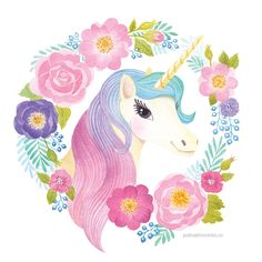 Unicorn for children`s birthday party by Polina Khoronko: Единорог для детского Дня Рождения #watercolor #unicorn