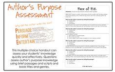 Free Author's Purpose Assessment