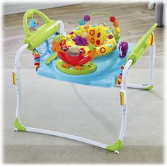 Fisher-Price First Steps Jumperoo It's a free-standing jumper that spins 360 degrees, and even extends into a stationery walker, so baby can walk back and forth, without stepping into harm's way (like near the stairs!). It lights up and plays music as baby moves.