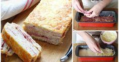Sandwichkuchen mit Toastbrot, Béchamelsoße, Käse & Schinken