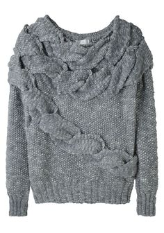 exaggerated cable sweater