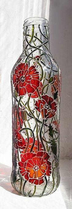 hand painted bottle by Elena Vitro