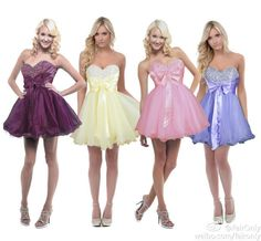 FairOnly Beading Bow Short Mini Organza Bridesmaid Prom Cocktail Party Dresses