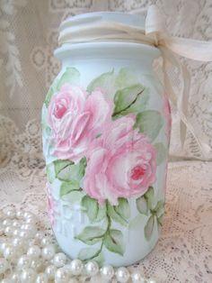 CHARMING BEACH COTTAGE AQUA BALL JAR hp roses chic shabby vintage hand painted  #BALL #BEACHCOTTAGECHIC